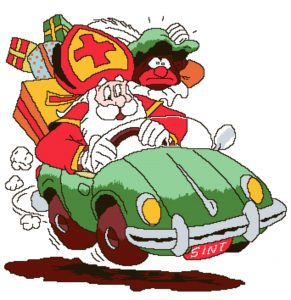Sint en Piet in de auto.